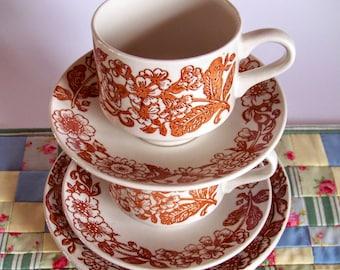 Vintage Broadhurst tea cup saucer and side plate set, retro 1960s/70s tea set Broadhurst pottery, Floral tea set british Broadhurst