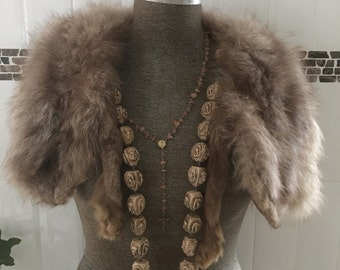Vintage Fox Taxidermy stole/collar natural