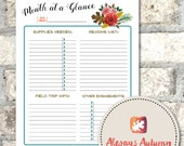 Printable Homeschool {Month at a Glance} Planner Sheet - Four Seasons Collection