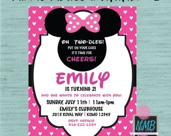 Choose from 3 Minnie Mouse Invitations 5x7