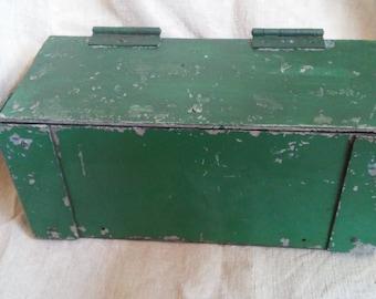 Old green aluminum riveted box
