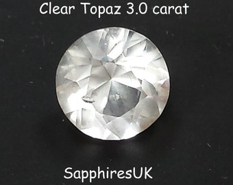 Loose Topaz Gemstone/Australian Topaz/Natural Clear Topaz. 3.05 carat. Round,  Brilliant Cut. Ref 112