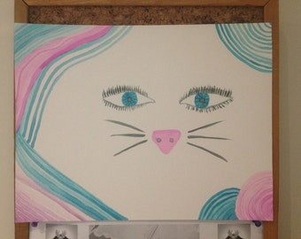 Original Emerging Cat Painting
