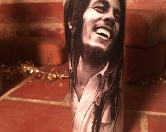 Bob Marley Glass Pillar Candle