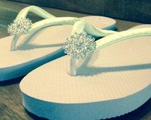 Wedding party bridesmaid custom bespoke flip flops