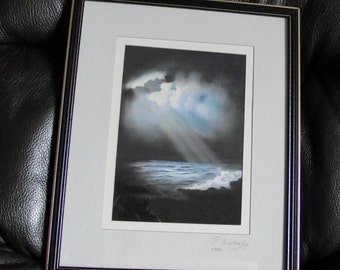 ORIGINAL vintage Seascape WATERCOLOUR Artist N Winstanley 1990