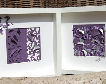 "Butterfly picture ""Katie"", 3D framed (purple and white)"