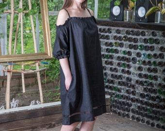 Linen Off Shoulder Swing Sundress with Pockets, Summer Boho Dress