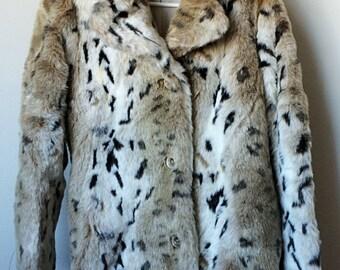 Vintage Faux Fur Snow Leopard Coat