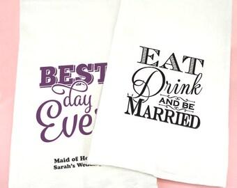 Wedding Favor Tea Towels, Personalized Wedding Tea Towels, Bridal Tea Towels - Set of 1