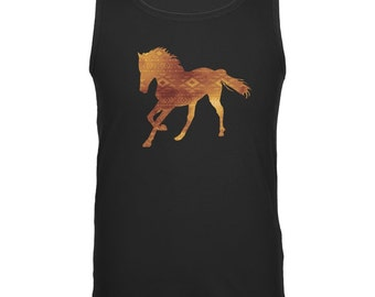 Native American Spirit Horse Black Adult Tank Top
