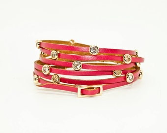 Red Leather Cuff with Diamante Studs
