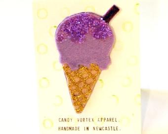 Handmade Purple Ice Cream Badge Candy Vortex Apparel