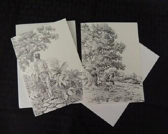 Artist - Note Cards printed from original Pen & Ink Drawings by Michael J. Brown -  Set of 2