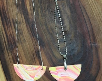 Pink, yellow and orange marble polymer clay necklace