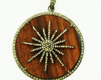 Pave Diamond wood starburst pendant