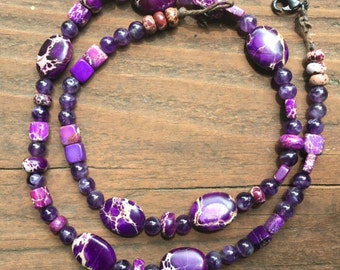 Purple marbled beaded necklace