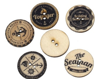 10 x Nautical Printed Wooden Sewing Buttons - 25mm