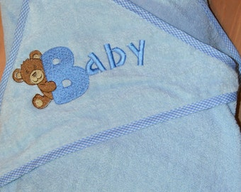 Hooded Baby Towel, Embroidered-Personalised-Boys-Girls-Baby-Gift-Name-Birth