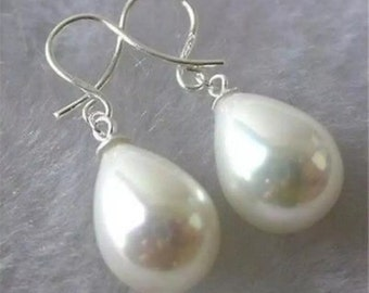 White shell beaded drop earrings