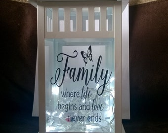 "stunning led light up lantern ""family where life begins and love never ends"""