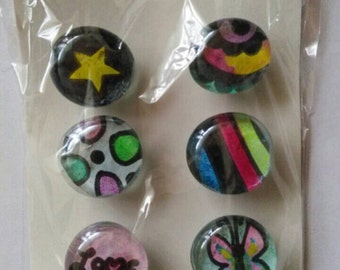 Handmade glass magnets. Set of 6.