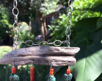 Driftwood, turquoise and vintage coral.