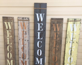Rustic porch WELCOME sign, pallet wood, handpainted, jute wrap