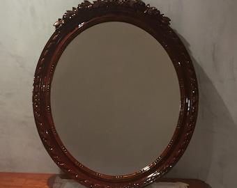 Antique Victorian Mirror hand Carve wood Black Forest