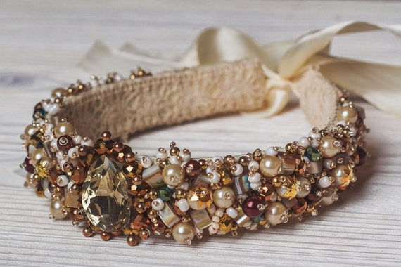 Beaded gold vintage headband with crystal Beaded bridal crown Baroque style Headband with pearls and beads and crystals for adult