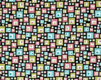 Black Pink and Teal Squares Fabric Sunflowers Soul Blossom by Cherry Guidry for Benartex Quilting Cotton Fabric 1/2 Yard Increments