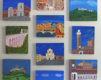 Tuscany collage TEN 8x10 famed canvas acrylic paintings from 9-day tour: Siena, Florence, Monterrigioni, San Gimignano, landscape