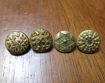 Four 1830's-1840's 1-Piece Flower Vest Buttons with Backmarks