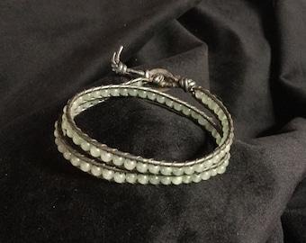 Beautiful handmade stone leather wrap bracelet, chan luu style beaded bracelet, bohemian wrap jewelry