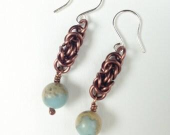 Chainmaille earrings, enameled copper, antique copper, jasper beads