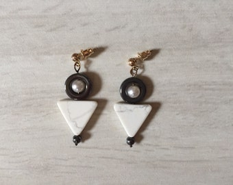 geometric triangle stone eargs | dangle earrings | howlite stones, hematite circles and onyx beads