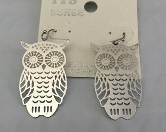 Silver lasercut OWL Drop Earrings