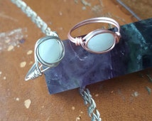 Amazonite Handmade Wire Wrapped Ring Silver or Rose Gold, Silver Ring, Rose Gold Ring, Amazonite Ring, Wire Wrapped Amazonite