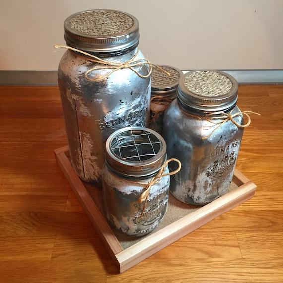 Mason Jar Kitchen Decor Set: Silver White Mason Jar Kitchen Canister Set