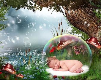Photography digital background | Newborn photography digital backdrop baby  bassinet basket img 08011