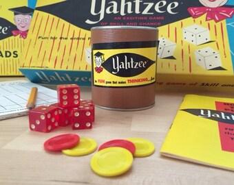 Vintage 1967 Third Edition Yahtzee Dice Game with Bonus Box of Score Pads, Lowe Company Family Gaming Fun