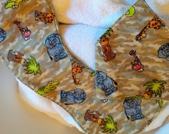 African Animals Bandana Bib and Burp Cloth Set