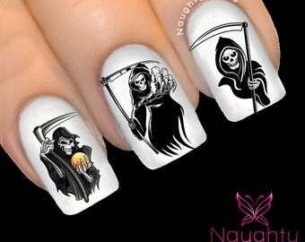 Grim Reaper Halloween Nail Water Transfer Decal Sticker Art Tattoo H-119