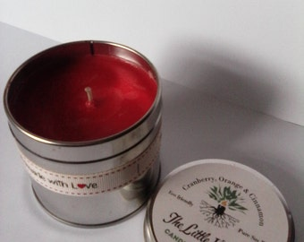 Beautifully scented Soy wax candle in a large Tin