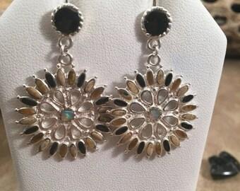 ON SALE Vintage Zuni Sterling Silver & Multi Stone Dangle Earrings