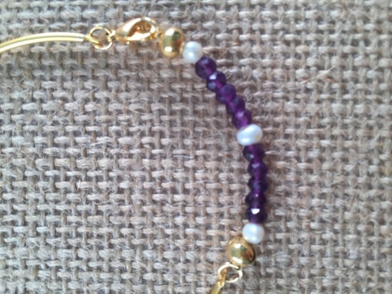 Gold thin bangle Bracelet with Amethysts and Pearls  , Lobster Clasp , 22k Gold Plated , 7.5 inches (18.5 cm)