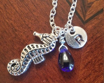 Birthstone September sapphire seahorse charm personalized initial necklace