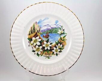 Vintage Dogwood Gold Trimmed Souvenir Plate of British Columbia/ Souvenir Plate / English China Dogwood  / Mountains Fishing Dogwood Flower