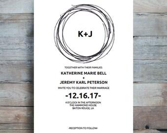 Printable Wedding Invitation, Mondern Wedding Invitation, Wedding Printable, Wedding Invite Template, PDF Instant Download
