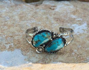 Kingman Turquoise Sterling Silver Cuff Bracelet / Artisan Jewelry / Southwestern Jewelry / Turquoise Jewelry / Handmade Jewelry / Bohemian